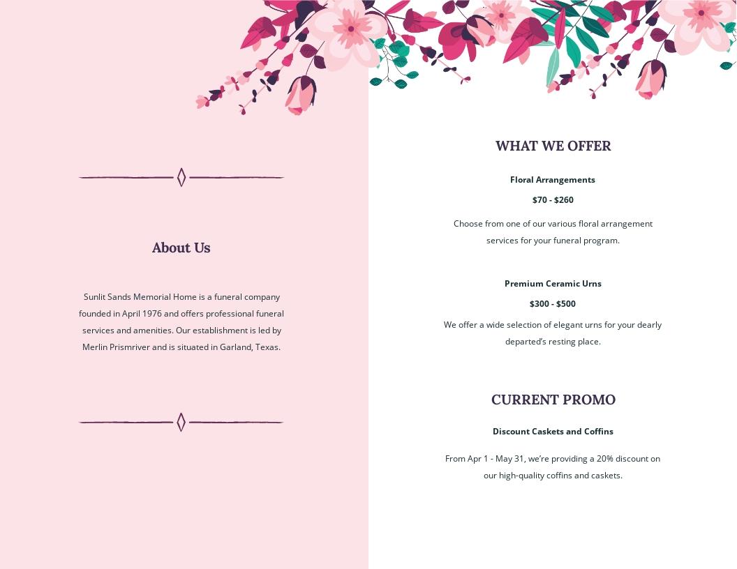 Floral Funeral Memorial Bi Fold Brochure Template 1.jpe