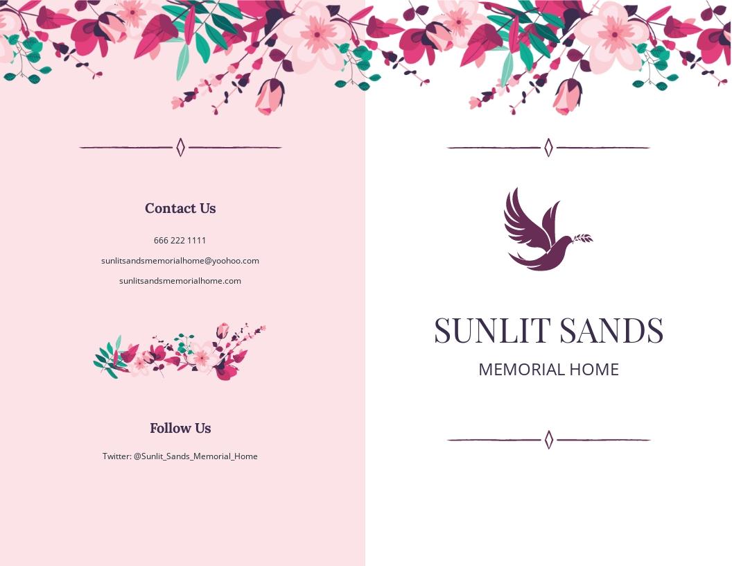 Floral Funeral Memorial Bi Fold Brochure Template.jpe