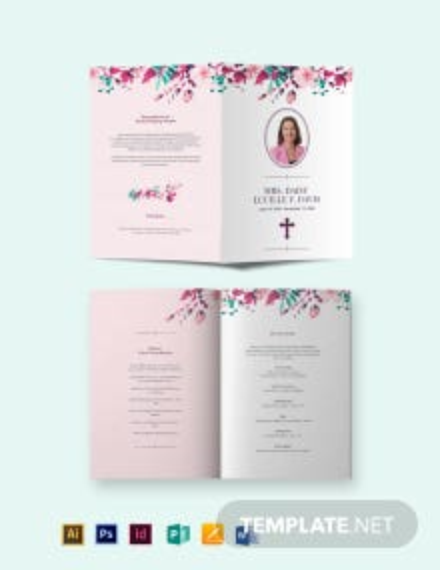 Floral Funeral Memorial Bi-Fold Brochure Template