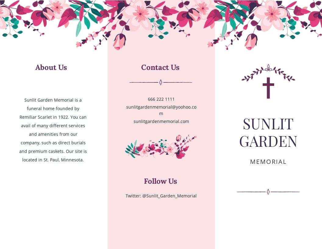 Floral Funeral Memorial Tri Fold Brochure Template.jpe