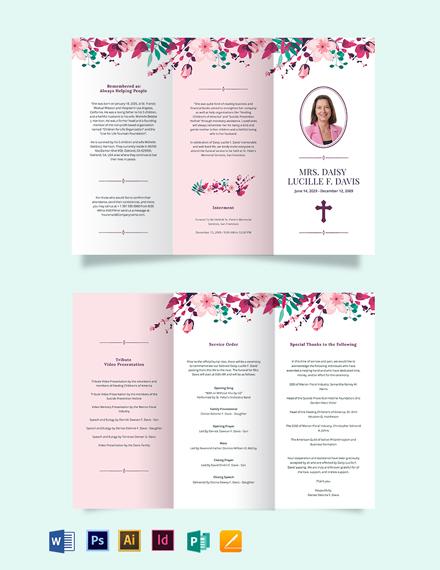 Floral Funeral Memorial Tri-Fold Brochure Template