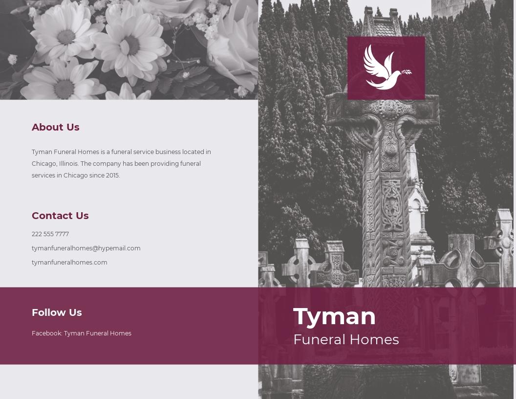 Floral Funeral Service Bi Fold Brochure Template.jpe