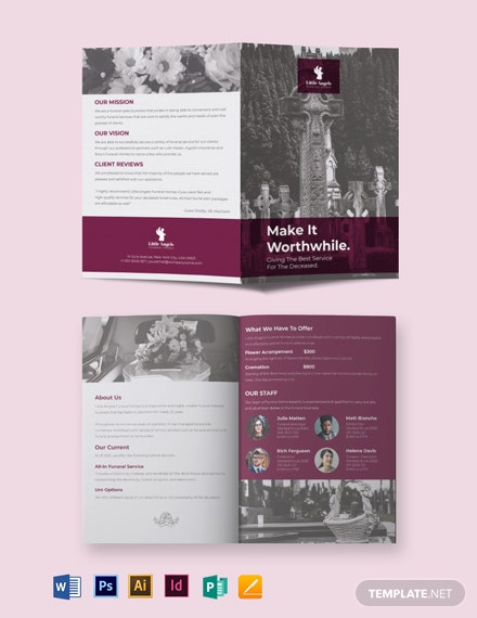 Floral Funeral Service BiFold Brochure Template