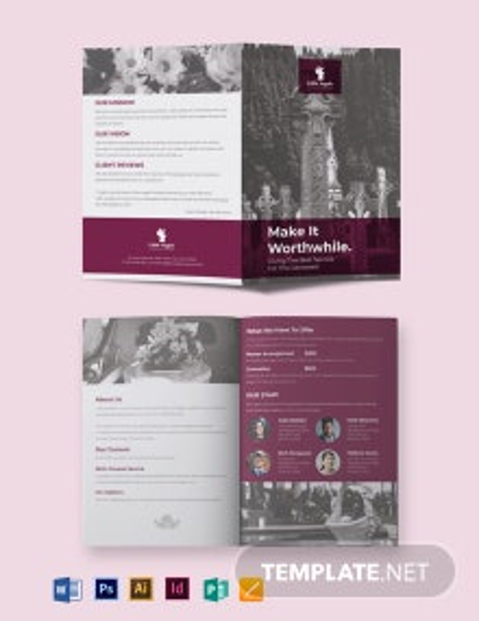 Floral Funeral Service Bi-Fold Brochure Template
