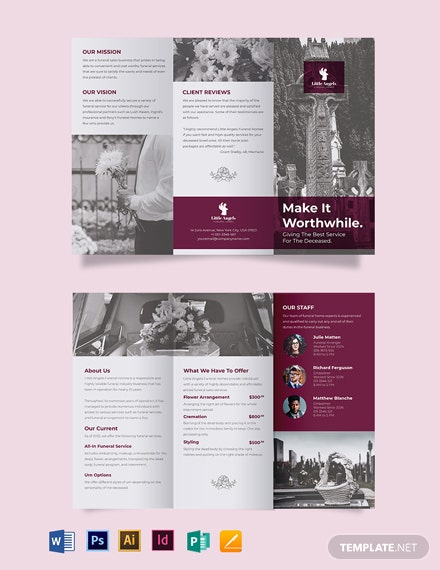 Floral Funeral Service TriFold Brochure Template