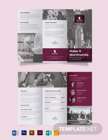 Floral Funeral Service Tri-Fold Brochure Template