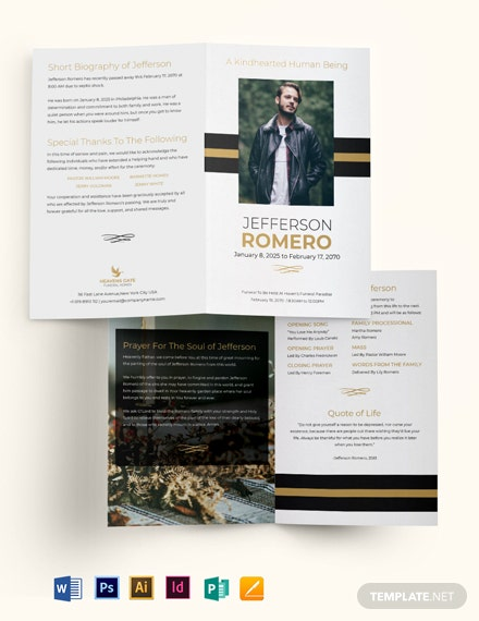 Funeral Program Booklet Bi-Fold Brochure Template