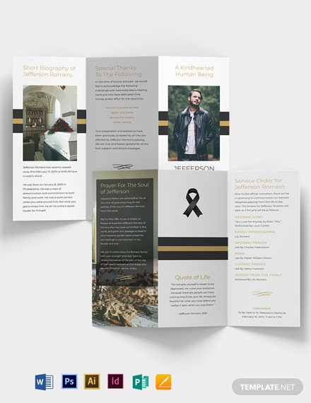 Funeral Program Booklet Tri-Fold Brochure Template