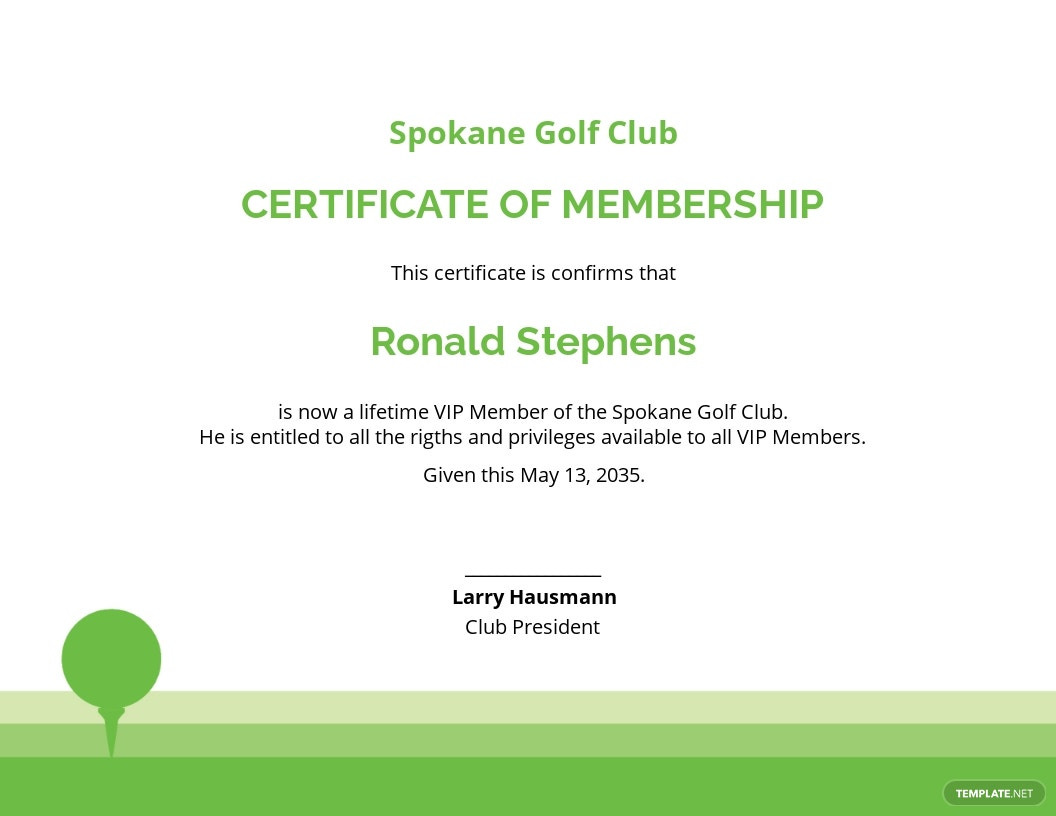 Golf Club Membership Certificate Template