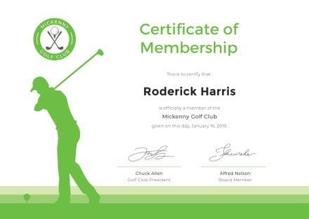 Free Golf Club Membership Certificate Template