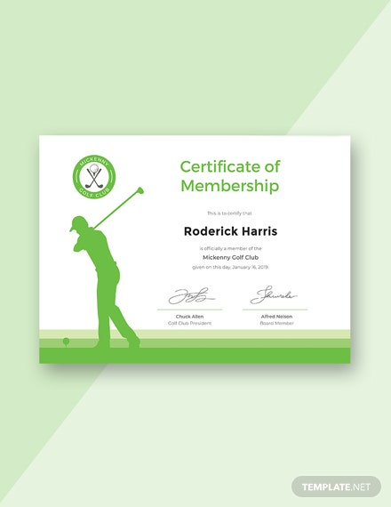 Free Golf Club Membership Certificate Template