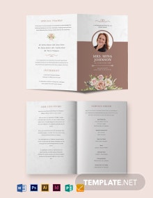 Mother/ MOM Funeral Obituary Bi-Fold Brochure Template