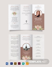Mother/ MOM Funeral Obituary Tri-Fold Brochure Template