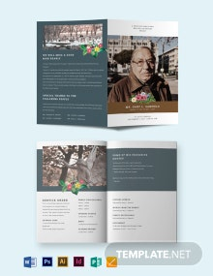 Printable Funeral Obituary Bi-Fold Brochure Template