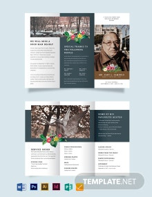 Printable Funeral Obituary Tri-Fold Brochure Template