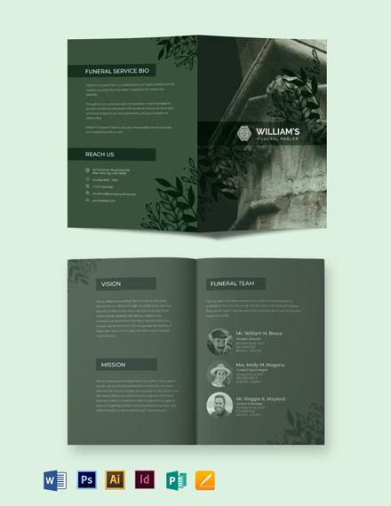 Printable Funeral Service Bi-Fold Brochure Template