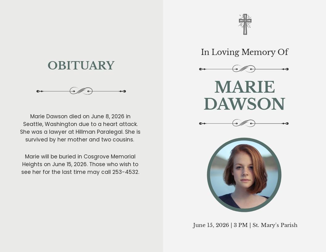 Religious Funeral Obituary Bi Fold Brochure Template.jpe