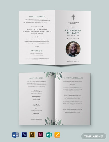 Religious Funeral Obituary Bi-Fold Brochure Template