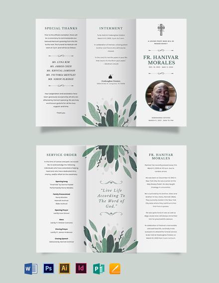 Religous Funeral Obituary Tri-Fold Brochure Template