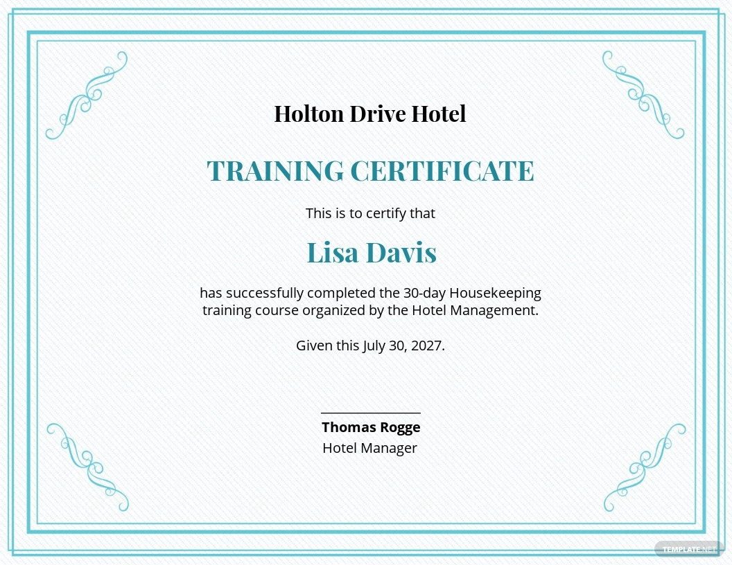 Hotel Training Certificate Template