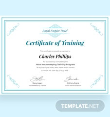 Free Hotel Training Certificate Template