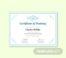 Free Hotel Training Certificate Template