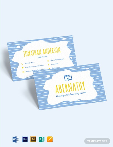 Kindergarten School Business Card Template