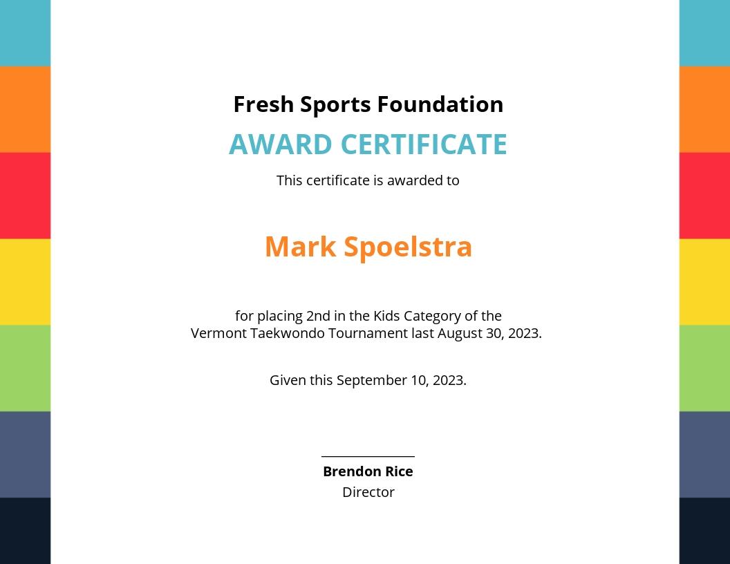 Kid's Sports Award Certificate Template