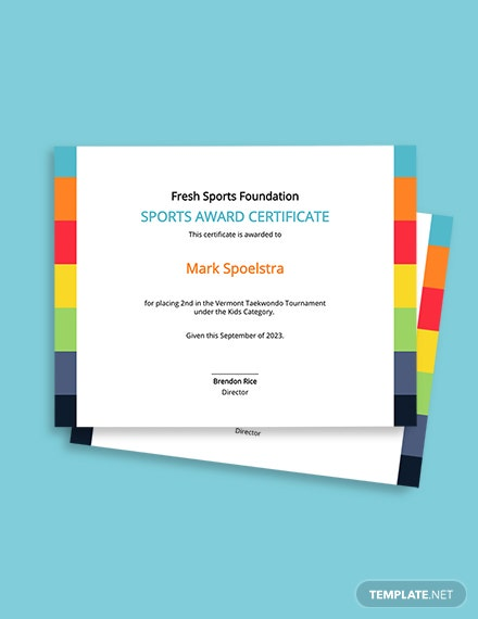 Free Kid's Sports Award Certificate Template