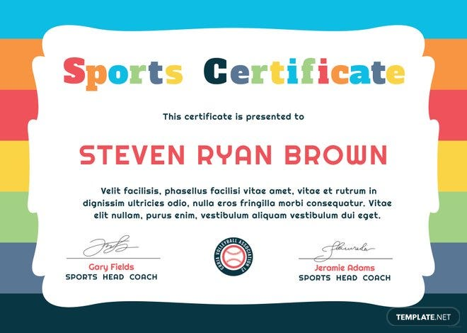 free kids sports award certificate template