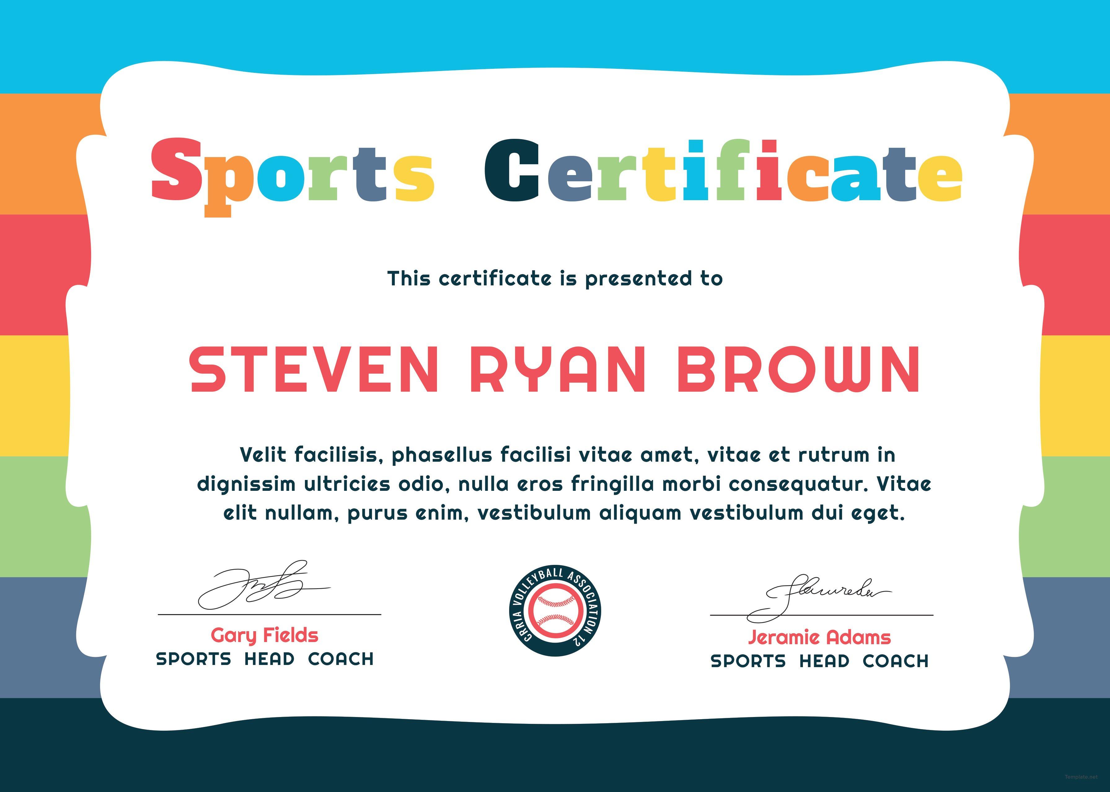 Free Kids Sports Award Certificate Template in Adobe ...