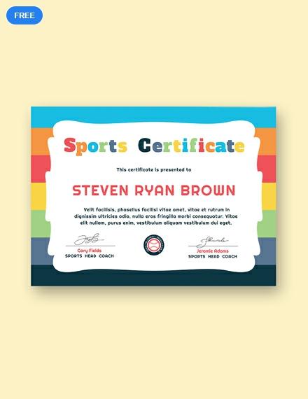 Free Kid's Sports Award Certificate Template