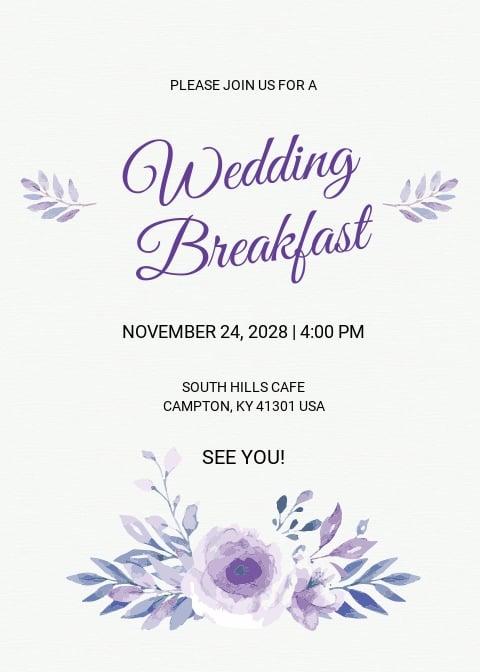 Free Simple Fall Wedding Breakfast Invitation Template