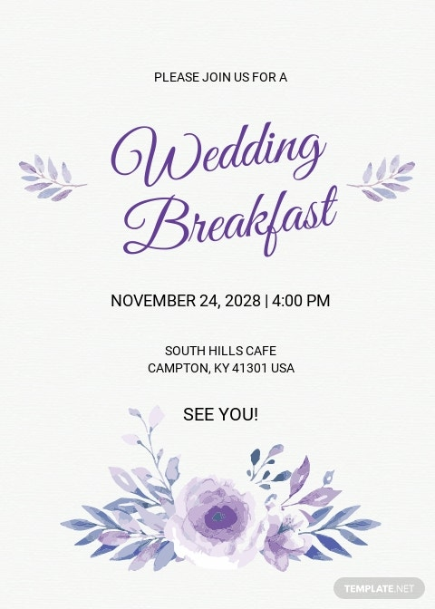 Simple Fall Wedding Breakfast Invitation Template