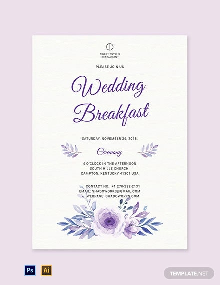 Free Simple Fall Wedding Breakfast Invitation Template