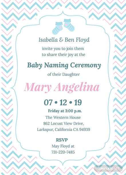 Free Baby Naming Ceremony Invitation Template: Download 344+ ...