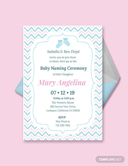 Free Baby Naming Ceremony Invitation Template Download 344