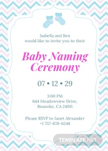 Free Baby Naming Ceremony Invitation Template
