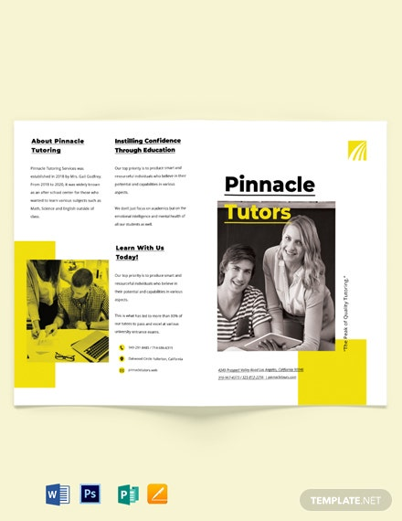 Tutoring School Bi-fold Brochure Template