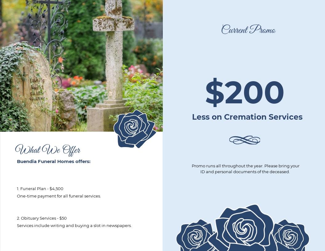Printable Loving Memory Funeral Bi Fold Brochure Template 1.jpe