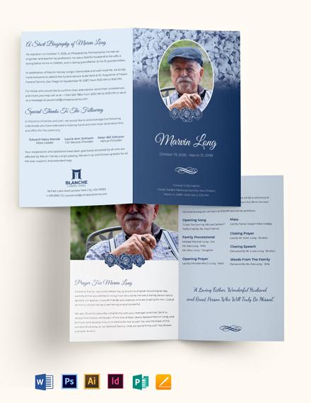 Printable Loving Memory Funeral Bi-Fold Brochure Template