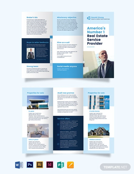 Licenced RealEstate Broker AgentAgency TriFold Brochure Template