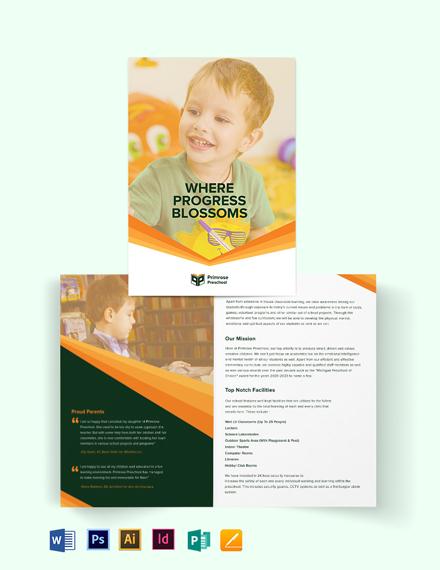 Primrose Preschool Bi-Fold Brochure Template