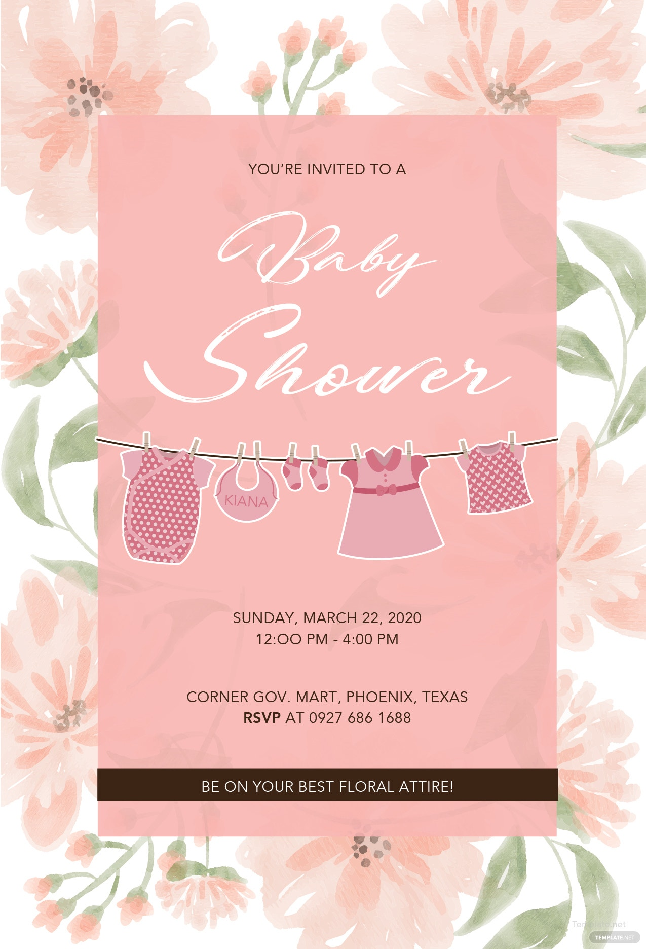Floral Baby Shower Template in MS Word, Publisher, Illustrator ...