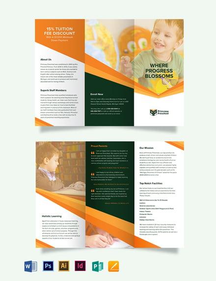 Primrose Preschool Tri-Fold Brochure Template