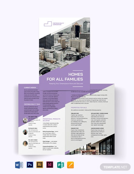 Real Estate Agent/ Agency Promotional Bi-Fold Brochure Template