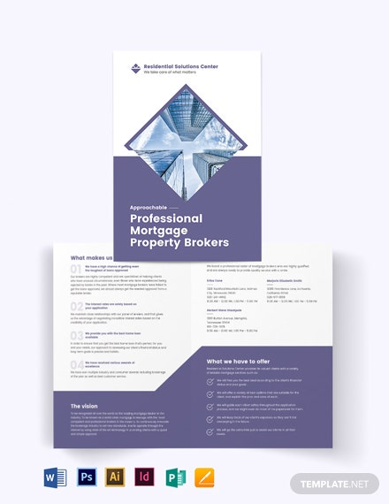 Residential Mortgage Broker Bi-Fold Brochure Template