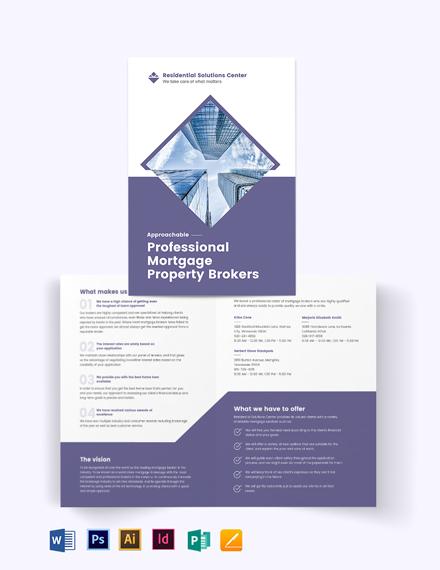 Residential Mortgage Broker Bi-Fold Brochure Template