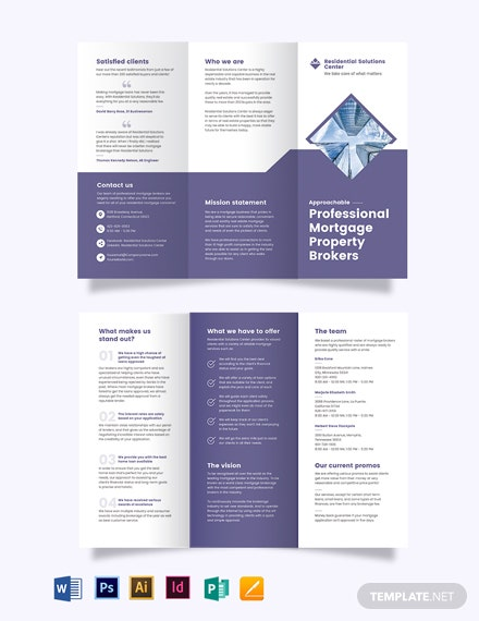Residential Mortgage Broker TriFold Brochure Template