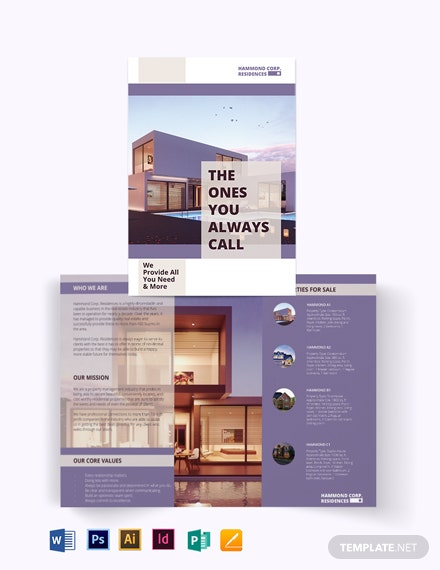 Residential Property Management Bi-Fold Brochure Template